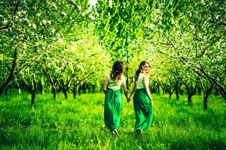 Two pretty girls holding hands and walking on the green garden with apple trees